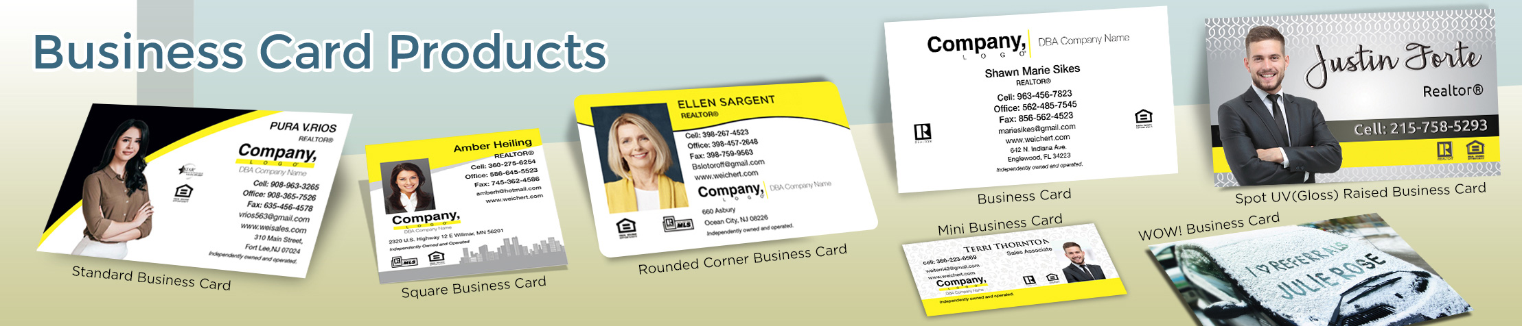 Weichert Real Estate Business Card Products - Weichert  - Unique, Custom Business Cards Printed on Quality Stock with Creative Designs for Realtors | BestPrintBuy.com