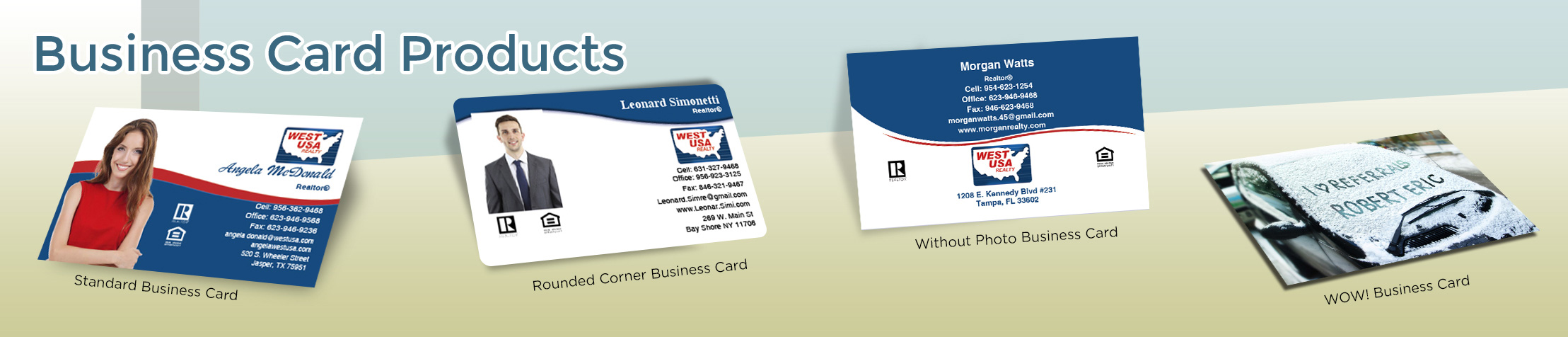 West USA Realty Real Estate Business Card Products - West USA Realty  - Unique, Custom Business Cards Printed on Quality Stock with Creative Designs for Realtors | BestPrintBuy.com