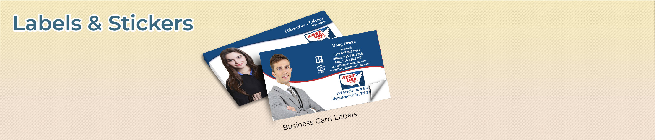 West USA Realty Real Estate Labels and Stickers - West USA Realty  business card labels, return address labels, shipping labels, and assorted stickers | BestPrintBuy.com