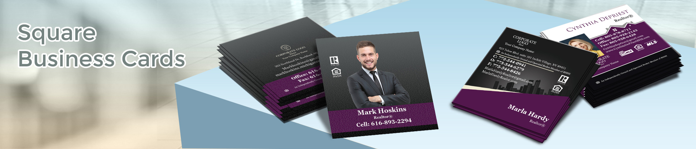 Berkshire Hathaway Real Estate Square Business Cards - Berkshire Hathaway  - Modern, Unique Business Cards for Realtors with a Glossy or Matte Finish | BestPrintBuy.com