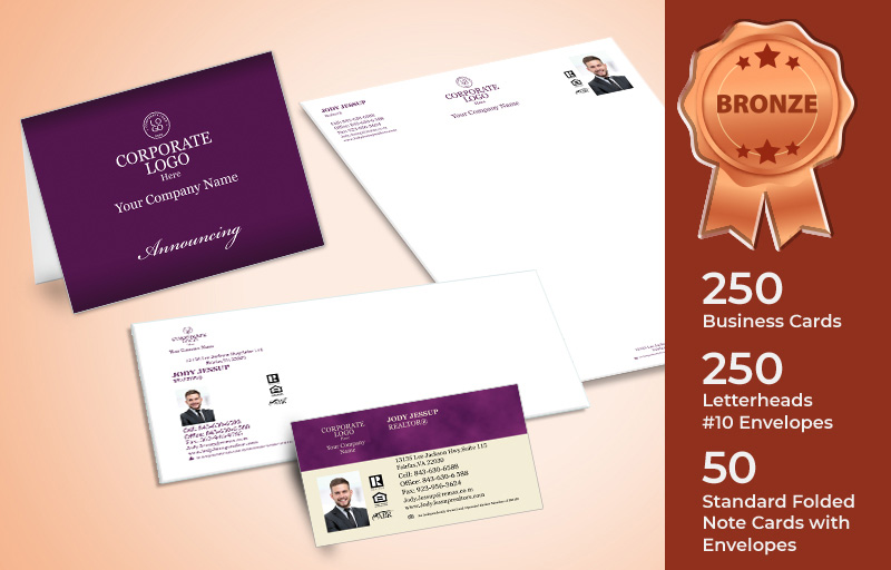 Berkshire Hathaway Real Estate Bronze Agent Package - Berkshire Hathaway personalized business cards, letterhead, envelopes and note cards | BestPrintBuy.com