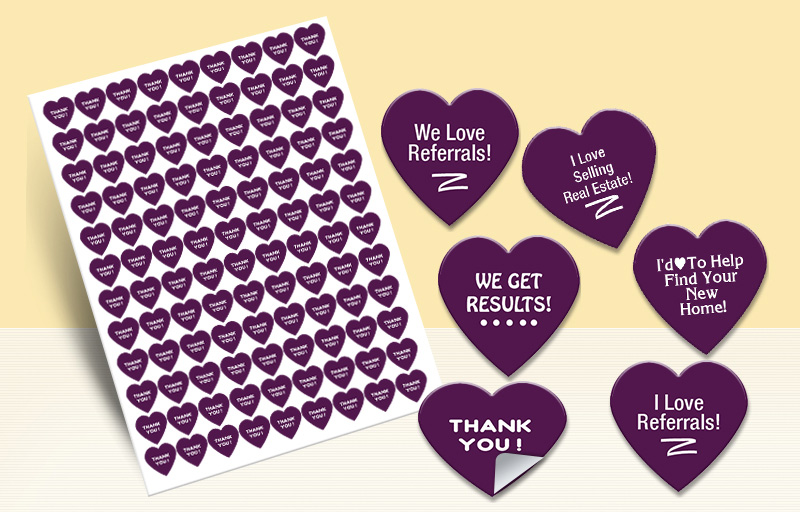 Berkshire Hathaway Real Estate Heart Shaped Stickers - Berkshire Hathaway stickers with messages | BestPrintBuy.com