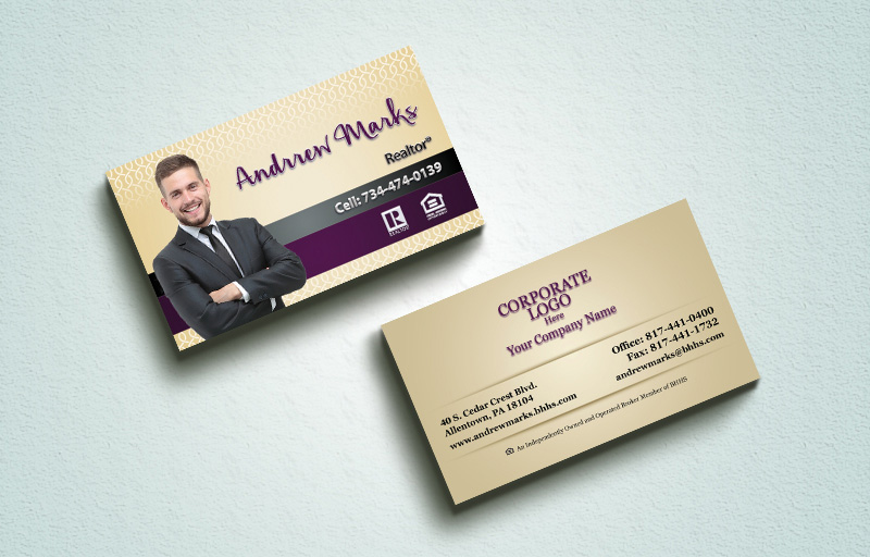 Berkshire Hathaway Real Estate Spot UV (Gloss) Raised Business Cards - Berkshire Hathaway Luxury Raised Printing & Suede Stock Business Cards for Realtors | BestPrintBuy.com